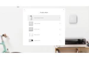 """Screenshot des Auswahlmenüs """"Produkt wählen"""" in der tado°-Brower-App."""