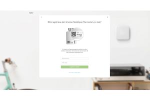 """Screenshot des """"Registriere dein Produkt""""-Menüs in der tado°-Browser-App."""