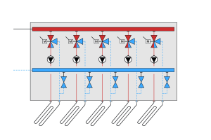 Abb.2: Innovation - Beimisch-Regelung (zentrale Verteilung) bei Fußbodenheizungen.
