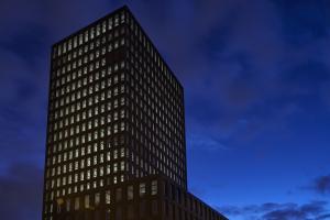 "Der ""Grosspeter Tower"" in Basel."