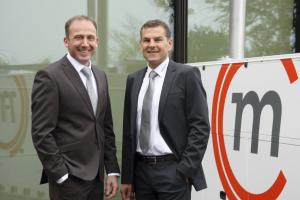 Fabio Doriguzzi (links) und Marcel Ginter, Geschäftsführer der Mobil in Time GmbH.