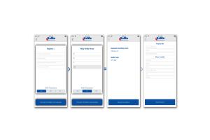 "Vier Smartphone-Screenshots der Konfigurations-App KaMo-""FWS""."