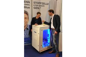 Das Brennstoffzellenheizgerät Bluegen von Solidpower auf der SHK Essen 2018.