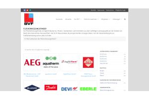 """Screenshot des """"Flächenheizungsfinders"""" des BVF."""