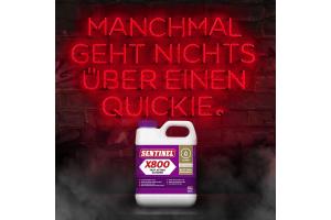 """Werbebanner für den """"Sentinel X800 Schnellreiniger""""."""