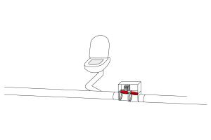 RICHTIG: In fäkalienführende Leitungen sind die Klappen der Rückstauverschlüsse im normalen Betrieb immer geöffnet. Bei Rückstau wird die Klappe motorisch geschlossen.
