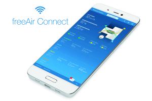 """Die App """"freeAir Connect"""" auf einem Smartphone-Bildschirm."""