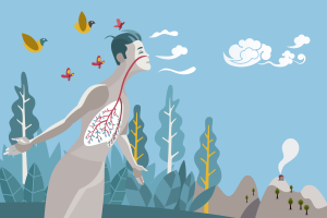 Zeichnung eines jungen Mannes in einem Wald, der einatmet.