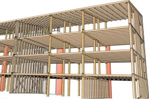 """Tragkonstruktion des Mehrfamilienhauses """"NEST4""""."""