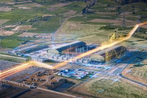 Fabrikgelände mit virtuellen Linien.