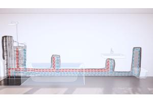 Der neue Strömungsverteiler von Fränkische wird in einer Ringinstallation angeschlossen und bindet die ursprünglichen Stichleitungen optimal ins Rohrnetz ein.