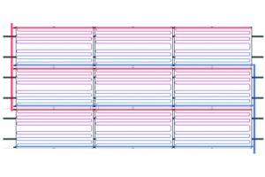 Die Grafik zeigt einen Feldaufbau aus drei Reihen parallel verschalteter Kollektoren, nach Tichelmann verschaltet.