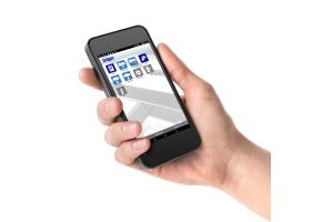 """Die neue App von Dräger für die Abgasmessgeräte """"FG7000"""" und """"FG4200"""" auf einem Smartphone-Bildschirm."""