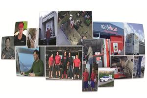 Eine Collage verschiedener Bilder von mobiheat-Mitarbeitern.