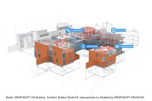 """Eine virtuelle Gebäudeplanung am Beispiel des Hauptsitzes der Graphisoft, einer Marke der Nemetschek Group. Modelliert mit """"ArchiCAD"""" von Graphisoft."""