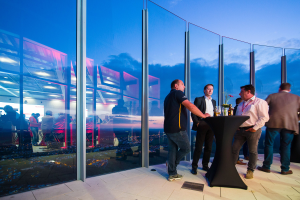 Besonders beeindruckend für die Gäste des Tech-Days war der Ausblick von Deutschlands höchster Aussichtsplattform. In 231 Metern Höhe reicht der Blick weit über die Schwäbische Alb.