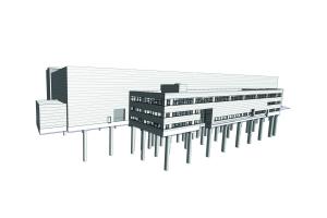 3D-Modell des Randbaus der Wartungshalle für das Siemens Turbinenwerk in Mülheim/Ruhr.