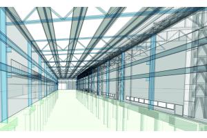 3D-Visualisierung der Wartungshalle für das Siemens Turbinenwerk in Mülheim/Ruhr.