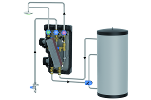 """Die Grafik zeigt die Komponenten der """"FriwaMini""""-Frischwasserstation."""