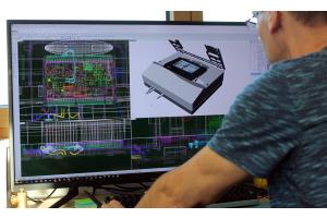 Ein Bildschirm mit verschiedenen Plänen eines Produkts.