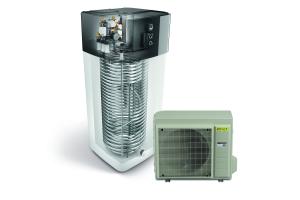 """Innen und Außengerät einer """"ROTEX HPSU compact Ultra""""-Wärmepumpe."""