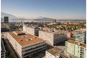 Der neue Campus von Siemens in Zug von oben.