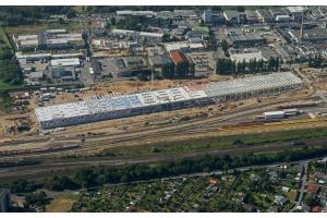 Luftbild des ICE-Werks in Köln-Nippes.