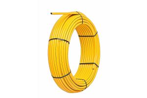 """Das """"alpex-gas""""-Verbundrohr besteht innen aus vernetztem Polyethylen, dazwischen aus stumpf-verschweißtem Aluminium und außen aus hochwärmestabilisiertem Polyethylen. Die drei Schichten sind durch spezielle Haftvermittler zu einer dauerhaften Einheit verbunden."""
