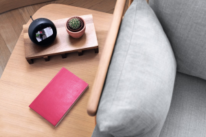 """Amazon """"Alexa""""-Gerät auf einem Couchtisch."""