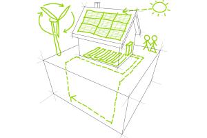 Zeichnung eines Hauses mit Solarspeicher.