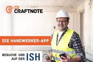 """Werbebanner für """"craftnote"""" auf der ISH 2019."""