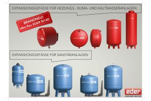 Eder-Expansonsgefäße für Heizungs-, Klima- und Kaltwasseranlagen sowie Sanitäranlagen.
