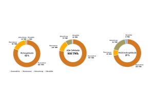 Die Diagramme zeigen die Verteilung der Endenergiebedarfe für Wohn- und  Nichtwohngebäude laut des dena-Gebäudereports 2018.