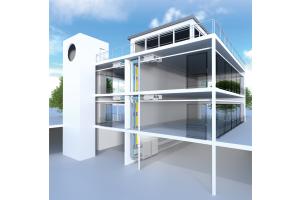 """Grafik eines Hauses mit dem Wohnungsübergabemodul """"Smart Box""""."""