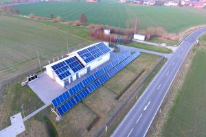 Die Gasdruckregelanlage Ostheim in Nordhessen von oben.