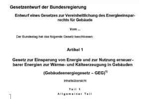 """Titelseite des Entwurfs für ein """"Gesetz zur Vereinheitlichung des Energieeinsparrechts für Gebäude"""""""