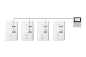 """Mit dem neuen """"AQUAREA"""" Kaskadenregler von Panasonic können bis zu zehn """"AQUAREA"""" Luft-Wasser-Wärmepumpen parallel gesteuert werden."""