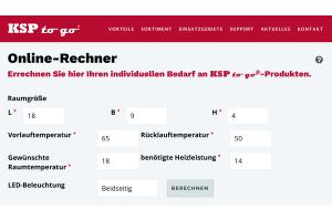 """Screenshot aus dem """"KSP to go""""-Online-Rechner."""