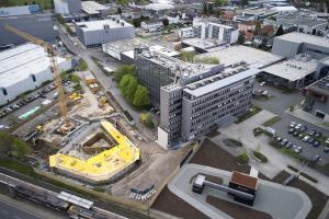 Luftbild der Grundsteinlegung für den Schüco One Neubau.