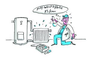 Ein Comic, der einen Installateur bei einer Probe von Heizungswasser zeigt.