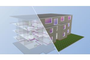 """Eine Simulation eines Hauses in 3D mit """"Gebäude-Simulation 3D PLUS""""."""