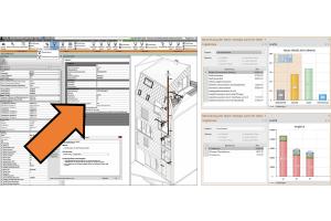 """Bei Integration des Solar-Computer-Berechnungs-Programms """"Heizlast DIN EN 12831-1"""" in die """"Revit""""-Oberfläche werden rechnerische Eckdaten auch als """"Revit""""-Eigenschaften verwaltet. Die Software sorgt für die Daten-Synchronisation zwischen BIM-Plattform und Berechnung. Technische Informationen  (im Bild, rechts oben: anteilige Volumenströme) lassen sich ebenso abrufen wie betriebswirtschaftliche Informationen (im Bild, rechts unten: Heizlast-Vergleich verschiedener Fenster-Konzepte)."""