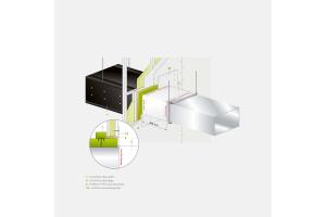 """Grafik des Brandschutzsystems """"Conlit Duct Board 90"""" von Deutsche Rockwool."""