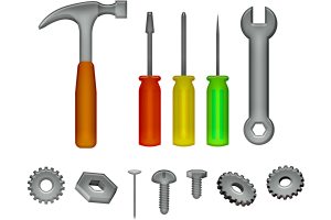 Hammer, Schraubenzieher, Zange und Schrauben.