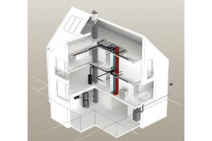 """Schema des Lüftungsnetzwerks """"Via Vento S"""" in einem Einfamilienhaus."""