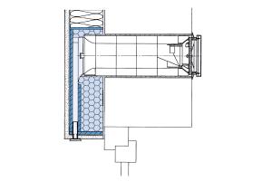 Schnittzeichnung einer dezentralen Lüftung mit Umlenkung innerhalb eines WDV-Systems: Die dunkelblau dargestellte Kapselung schützt im Brandfall das Lüftungsgerät vor Feuerüberschlag oder abtropfendem Kunststoff - ähnlich wie der Brandriegel über einem Fenster.