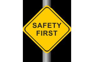 """Ein gelbes Verkehrsschild mit der Aufschrift """"Safety First"""""""