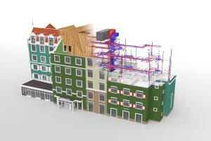 Das aus einem alten Bürohaus entstandene Zaan Hotel zeichnet sich durch sein authentisches Erscheinungsbild aus (im Bild: 3D-Gebäudemodell). Bei dem Gästehaus wurden sämtliche Gewerke nach der BIM-Arbeitsmethode geplant.