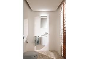 """Ästhetische und zweckmäßige Lösungen auf kleinstem Raum: das """"Elegance""""-Gäste-WC von Keuco."""