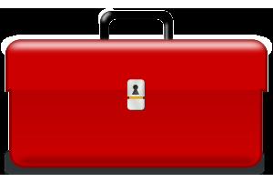 Eine rote Werkzeugbox.
